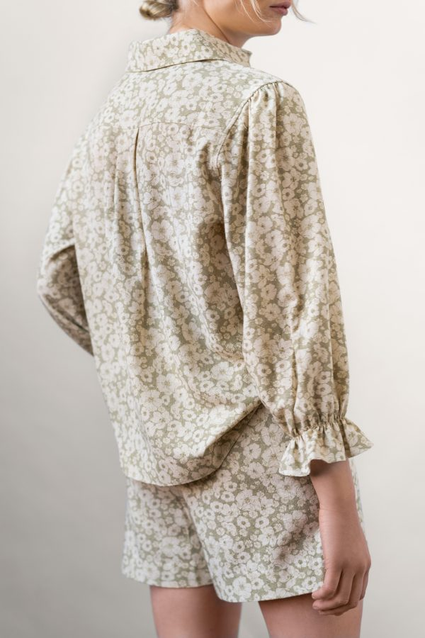 Winona Shirt and Wie Shorts Set Sage from the back