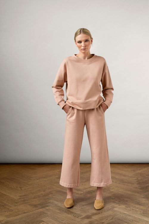 Rory Org Cotton Pants Rose Dust with pockets and Ruth Org Cotton Sweatshirt Rose Dust